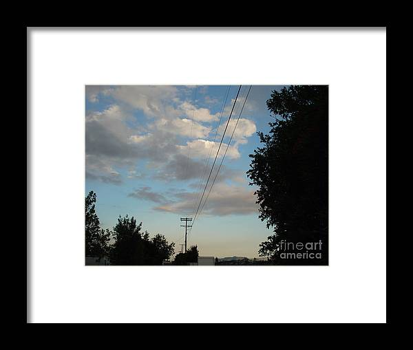 Aviation Framed Print featuring the photograph Telephone polls and sunset by De La Rosa Concert Photography
