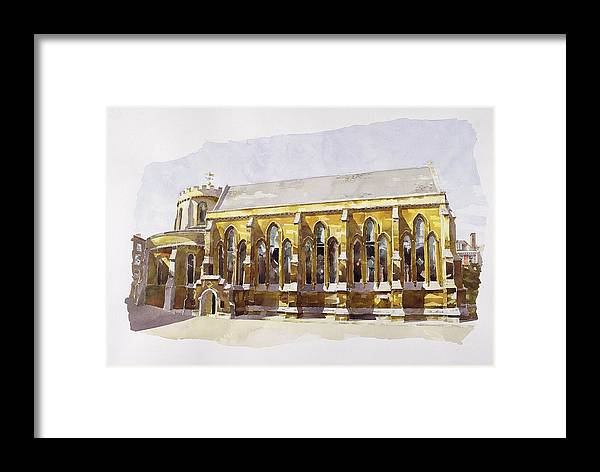 Round Framed Print featuring the painting Temple Church by Annabel Wilson