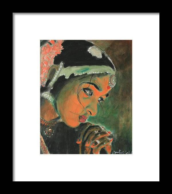 Woman Framed Print featuring the painting Temple Dancer by Jean-Paul Setlak