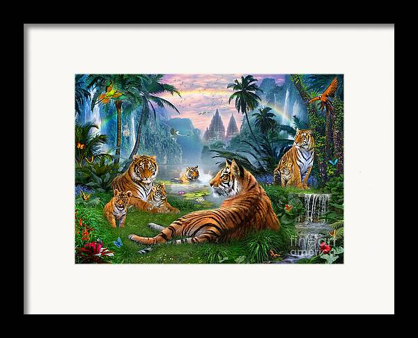 Animals Framed Print featuring the digital art Temple Lake Tigers by Jan Patrik Krasny
