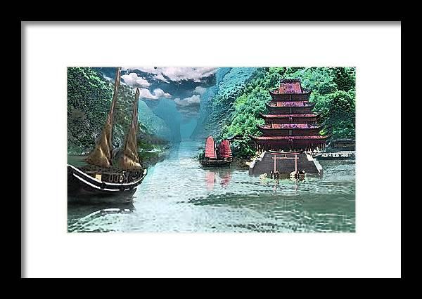 Landscape Framed Print featuring the digital art Temple on the Yangzte by Steve Karol