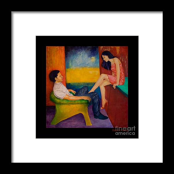 Human-picture-original Framed Print featuring the painting Temptation by Dagmar Helbig