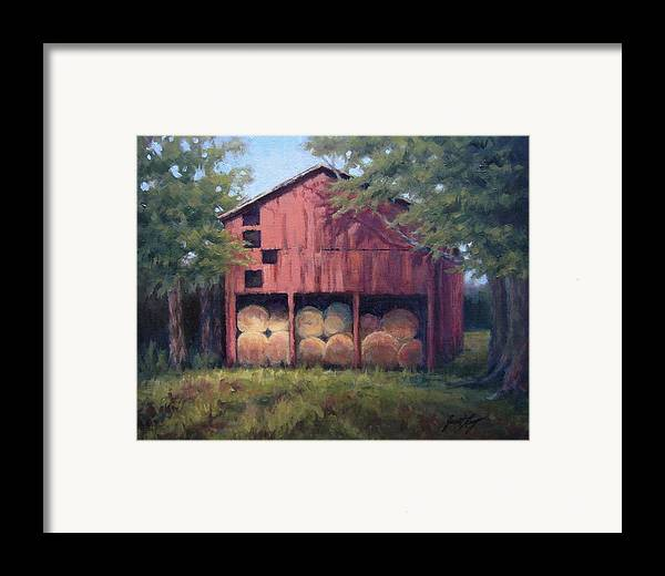 Barn Framed Print featuring the painting Tennessee Barn With Hay Bales by Janet King