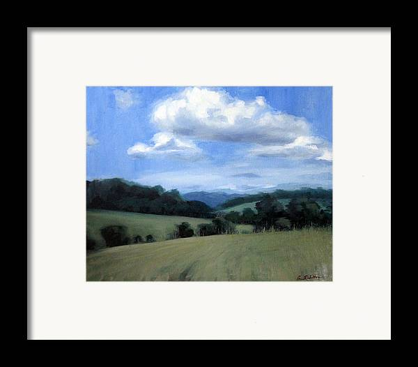 Tennessee Framed Print featuring the painting Tennessee's Rolling Hills And Clouds by Erin Rickelton