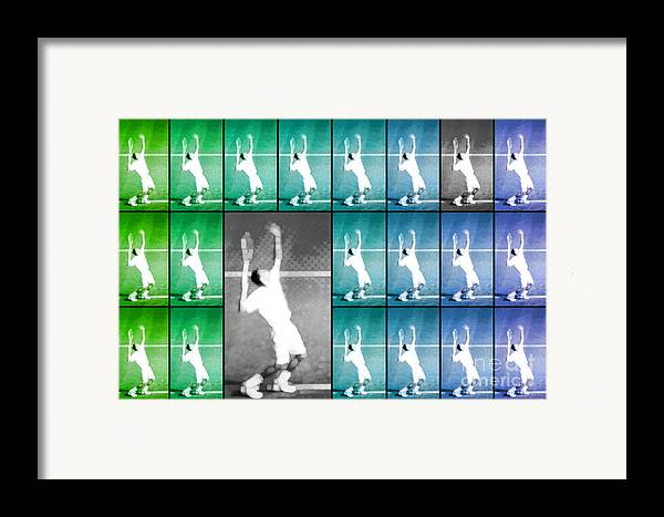 Tennis Framed Print featuring the photograph Tennis Serve Mosaic Abstract by Natalie Kinnear