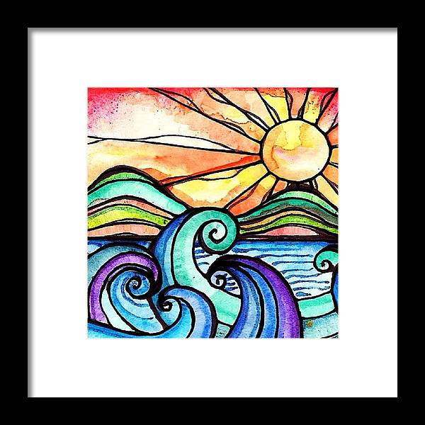 Art Framed Print featuring the photograph Tequila Sunrise #aceo #artcard #art by Robin Mead