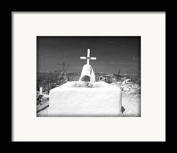 Cemetery Framed Print featuring the photograph Terlingua Grave by Sonja Quintero