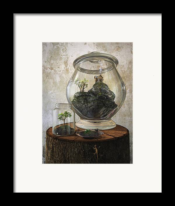 Jar Framed Print featuring the digital art Terrarium by Cynthia Decker