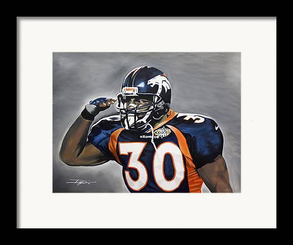 Td Framed Print featuring the drawing Terrell Davis by Don Medina