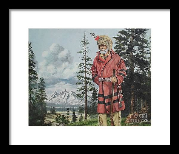 Landscape Framed Print featuring the painting Terry The Mountain Man by Wanda Dansereau