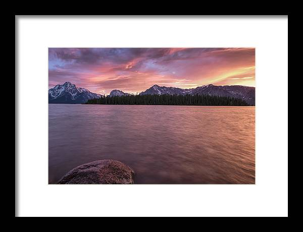 Horizontal Framed Print featuring the photograph Teton Firesky by Jon Glaser