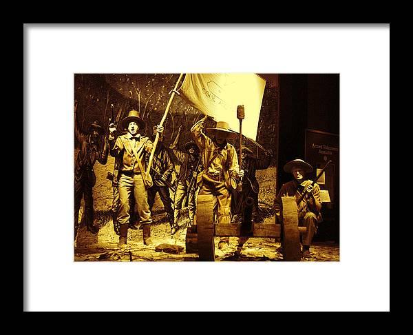 History Framed Print featuring the pyrography Texans Resisting Santa Ana by Linda Phelps