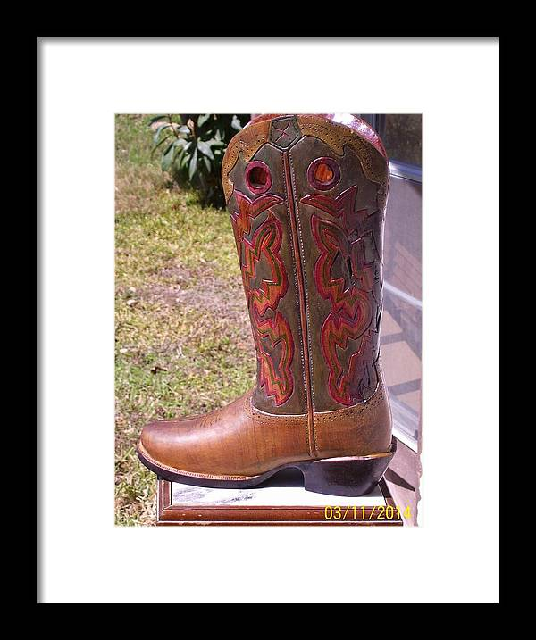 Texas Framed Print featuring the sculpture Texas Custom Boot by Michael Pasko