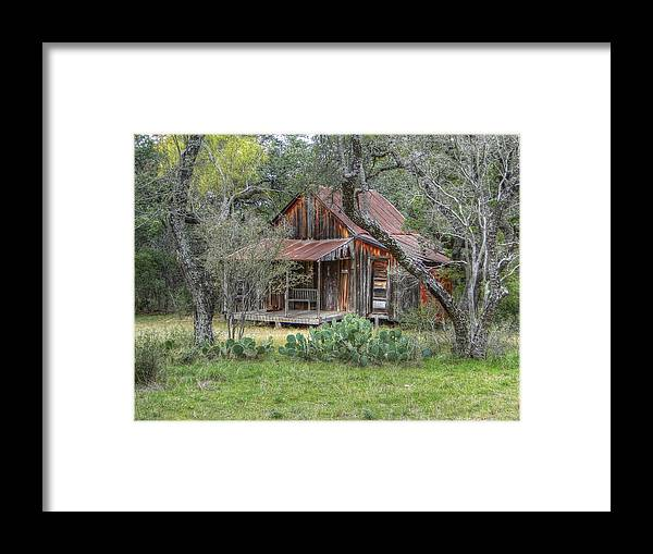 Landscape Framed Print featuring the photograph Texas Hill Country House by Donna Bevington