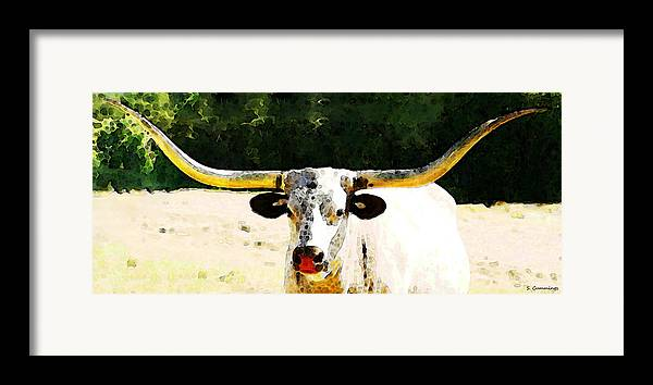 Cow Framed Print featuring the painting Texas Longhorn - Bull Cow by Sharon Cummings