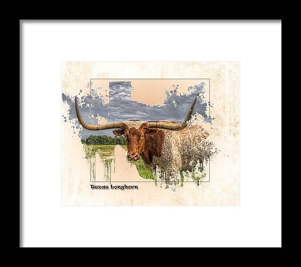 Texas Longhorn Framed Print featuring the digital art Texas Longhorn by Ray Keeling