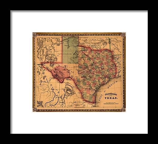 Texas map art vintage antique map of texas framed print by world texas framed print featuring the drawing texas map art vintage antique map of texas by gumiabroncs Gallery