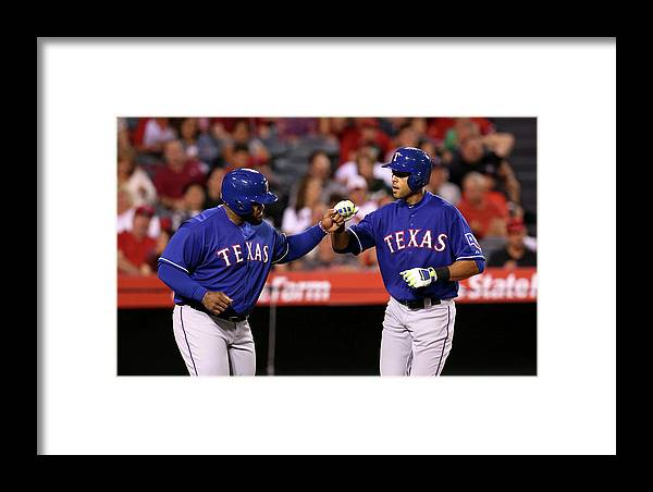 American League Baseball Framed Print featuring the photograph Texas Rangers V Los Angeles Angels Of by Stephen Dunn