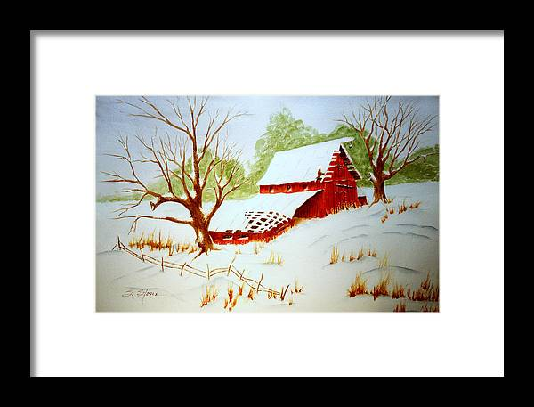 Landscape Framed Print featuring the painting Texas Red Barn by Sandra Stone