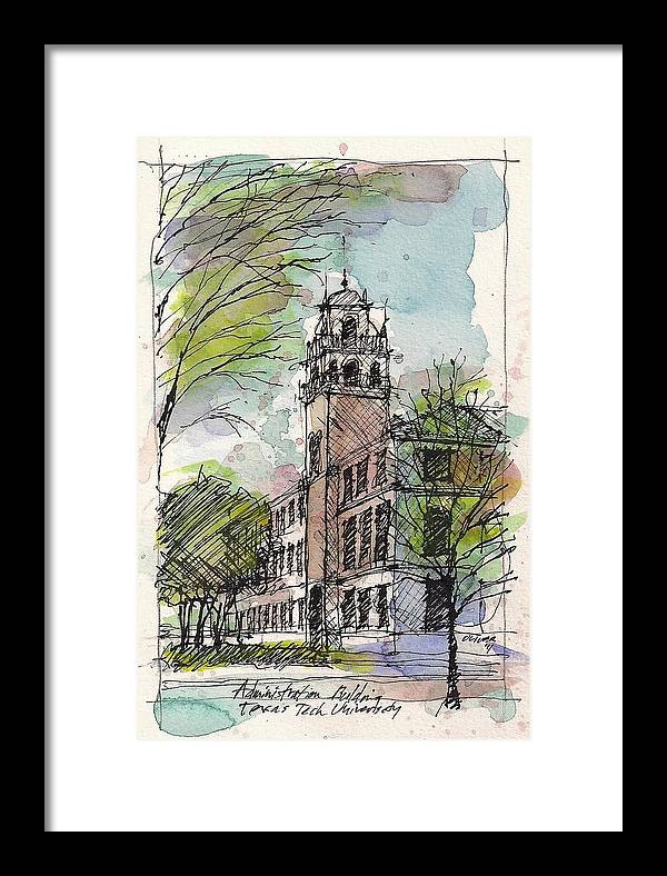 Texas Tech University Framed Print featuring the mixed media Texas Tech Administration Building by Tim Oliver