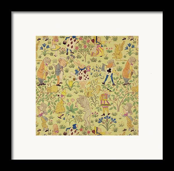 Voysey Framed Print featuring the painting Textile Design For Alice In Wonderland by Voysey