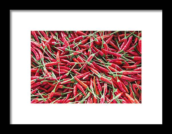 Chili Framed Print featuring the photograph Thai Chili Peppers Background by Jit Lim