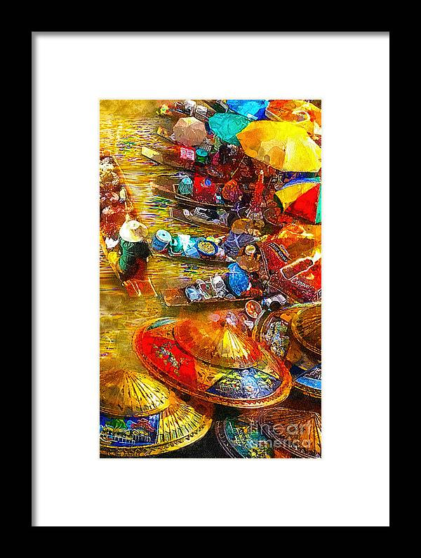 Thai Market Day Framed Print featuring the painting Thai Market Day by Mo T