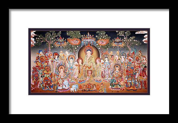 Thangka Framed Print featuring the painting Buddha Art Thangka by Ts