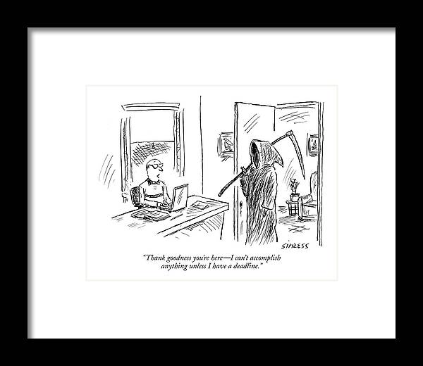 Grim Reaper Writers Death Motivation  (man At Computer Talking To Grim Reaper.) 120214 Dsi David Sipress Framed Print featuring the drawing Thank Goodness You're Here - I Can't Accomplish by David Sipress