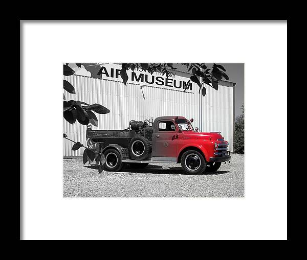 Cars Framed Print featuring the photograph That Old Red Firetruck by Iris Flores