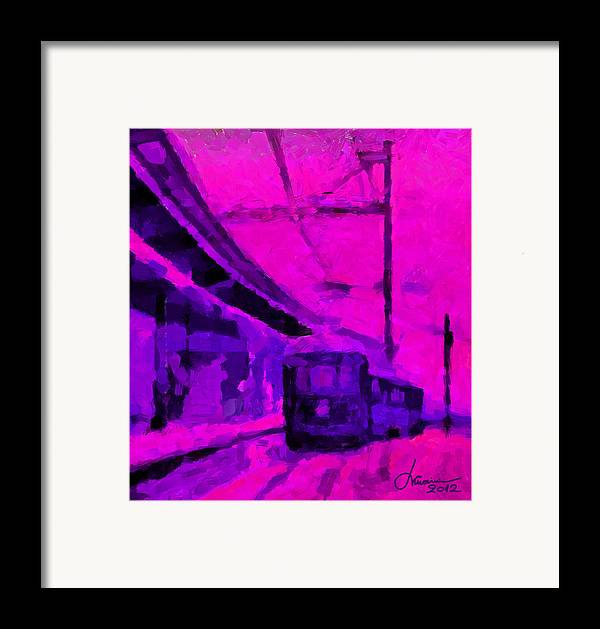 Train Framed Print featuring the digital art The 7am Train Tnm by Vincent DiNovici