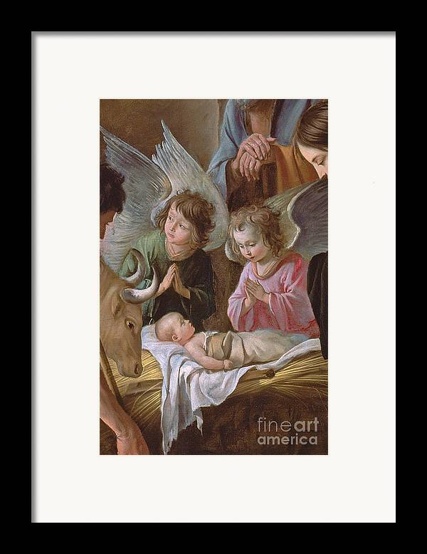 Le Nain Framed Print featuring the painting The Adoration by Le Nain