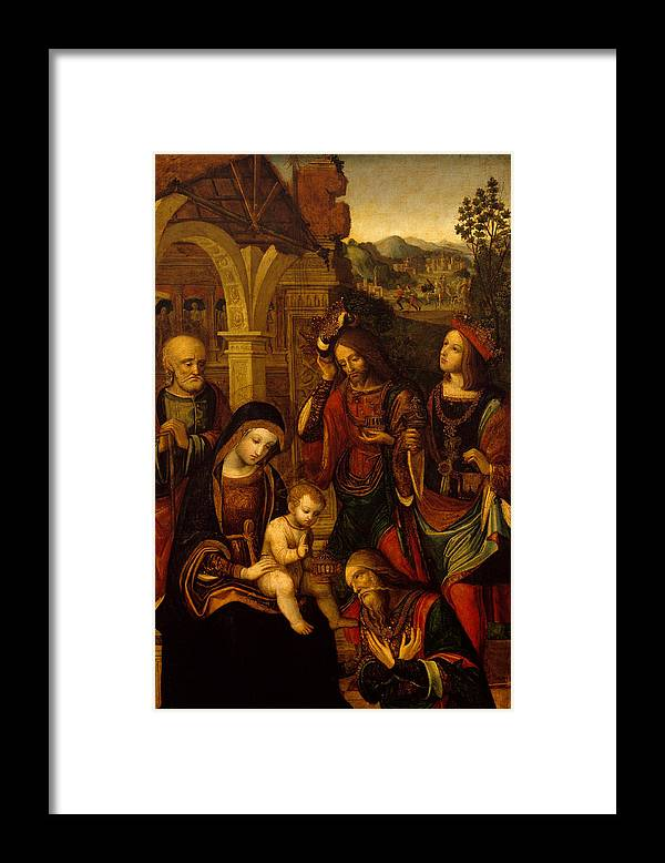 The Nativity Framed Print featuring the painting The Adoration Of The Kings by Neapolitan School
