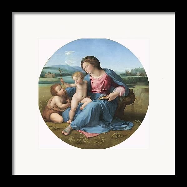 High; Renaissance; Virgin; Mary; Jesus; Christ; Infant; Child; Cross; Crucifix; St. John; Baptist; Saint; Roundel Framed Print featuring the painting The Alba Madonna by Raffaello Sanzio of Urbino