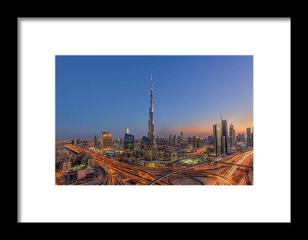 Skyline Framed Print featuring the photograph The Amazing Burj Khalifah by Mohammad Rustam