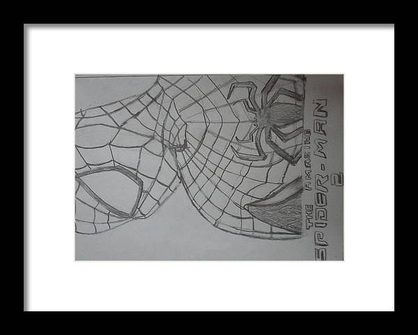 Spiderman Framed Print featuring the drawing the amazing Spiderman 2 by Kishore Nedumaran