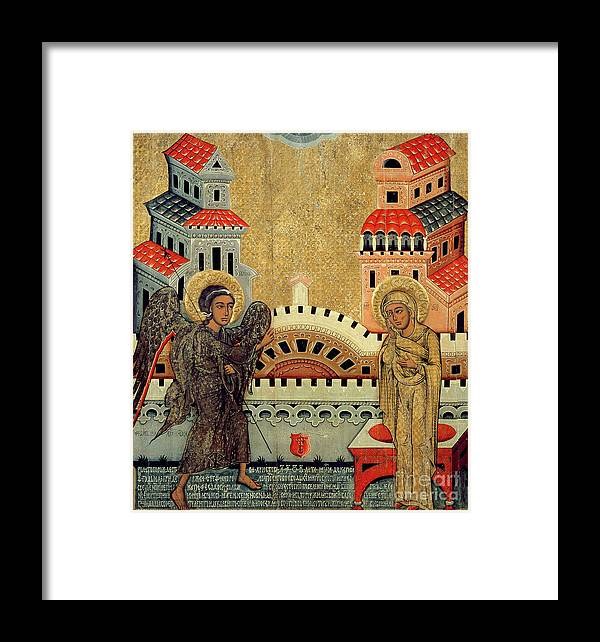Virgin Mary; Madonna; Archangel Gabriel; Announcing; Russian Icon; Stylised; Gold Leaf; Byzantine Framed Print featuring the painting The Annunciation by Fedusko of Sambor