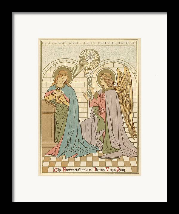 Saint Framed Print featuring the painting The Annunciation Of The Blessed Virgin Mary by English School