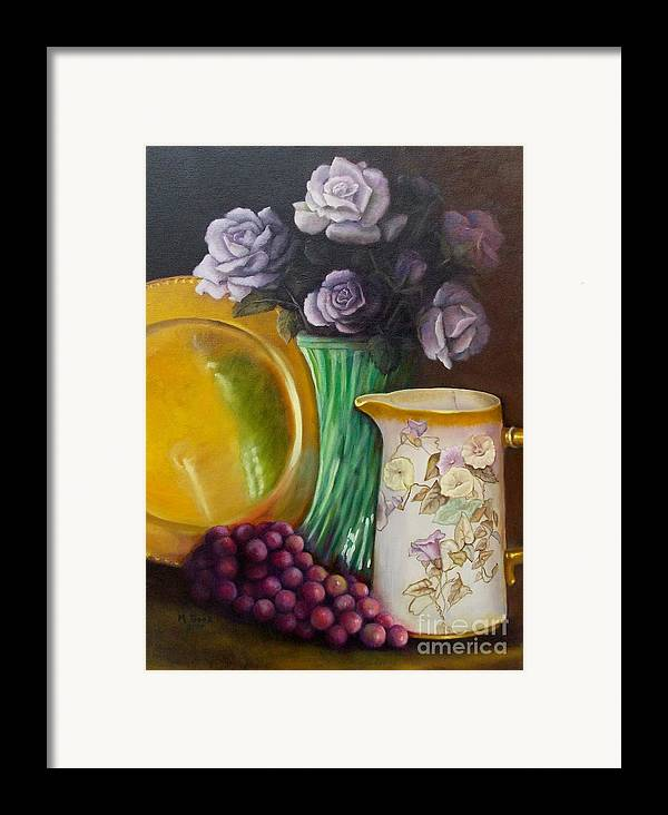 Still Life Framed Print featuring the painting The Antique Pitcher by Marlene Book
