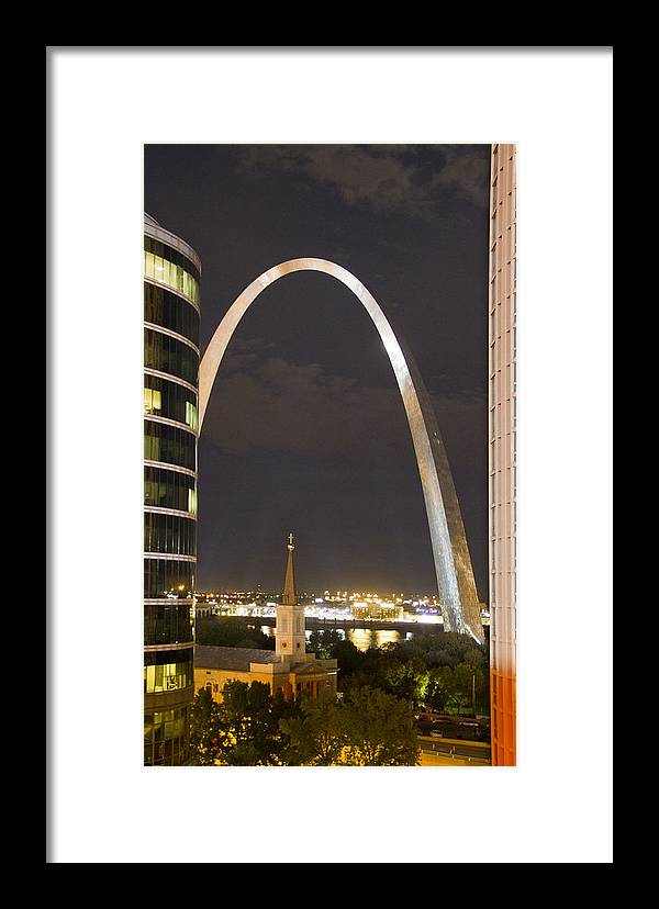 St Louis Framed Print featuring the photograph The Arch And Cathedral by Garry McMichael