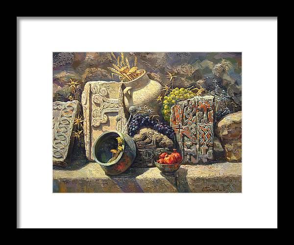 The Armenian Still Life Framed Print featuring the painting The Armenian Still Life With Cross Stone Khachkar by Meruzhan Khachatryan