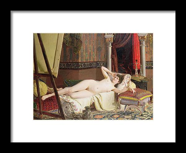 Easel Framed Print featuring the painting The Artists Model by Nikolai K Bodarevski
