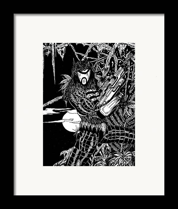 Justin Moore Framed Print featuring the drawing The Assassin by Justin Moore