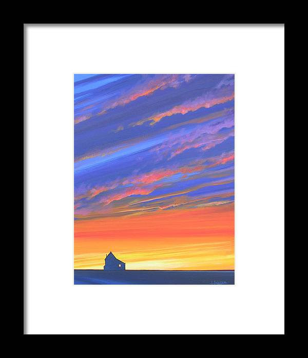 Sunset Framed Print featuring the painting The Aunt's House by Hunter Jay