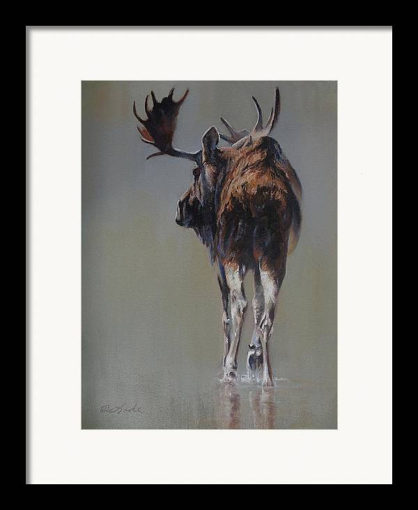 Moose Framed Print featuring the painting The Bachelor by Mia DeLode