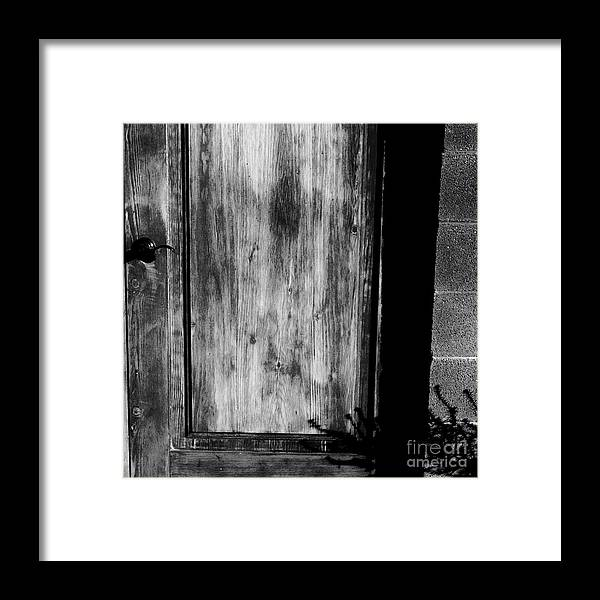 Digital Black And White Photo Framed Print featuring the digital art The Back Door Bw by Tim Richards