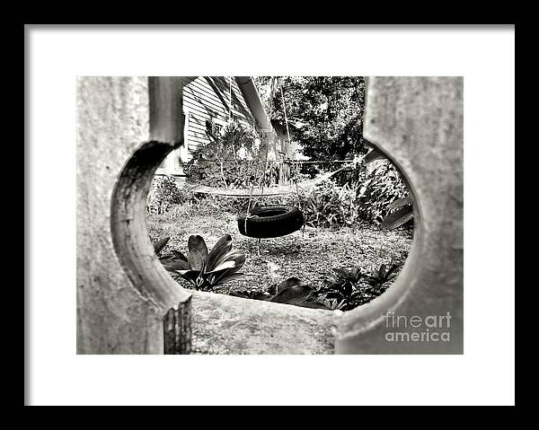 Black And White Framed Print featuring the photograph The Backyard by Lori-Anne Fay