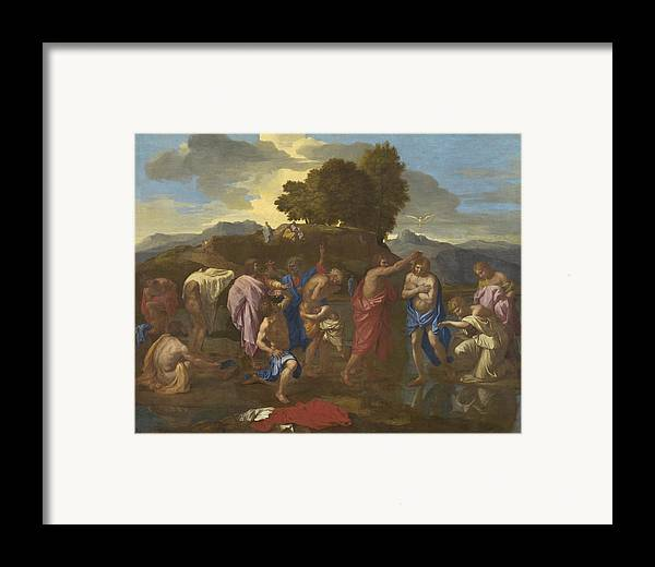 Jesus; Christ; Crucifix; Staff; St; John; Baptist; Saint; Baptising; River; Jordan; Dove; Holy; Spirit; Holy; Ghost; Baroque; Neo; Classical; Landscape Framed Print featuring the painting The Baptism Of Christ by Nicolas Poussin