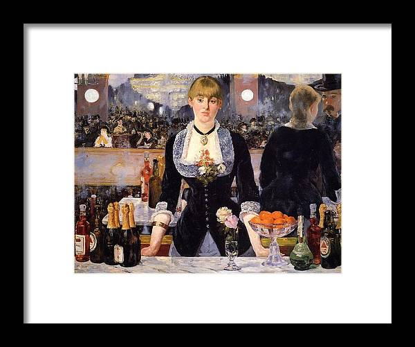1881-1882 Framed Print featuring the painting The Bar At The Folies-bergere by Edouard Manet