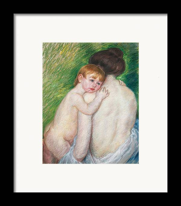 Child Framed Print featuring the painting The Bare Back by Mary Cassatt Stevenson